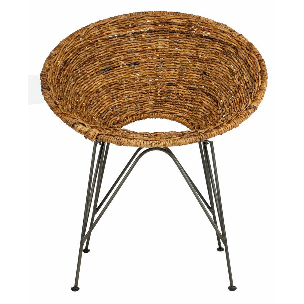 Safavieh Alexana Grey White Wash Rattan Linen Accent Chair