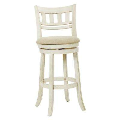 Swivel Stool 30 in. Antique White with Slatted Back