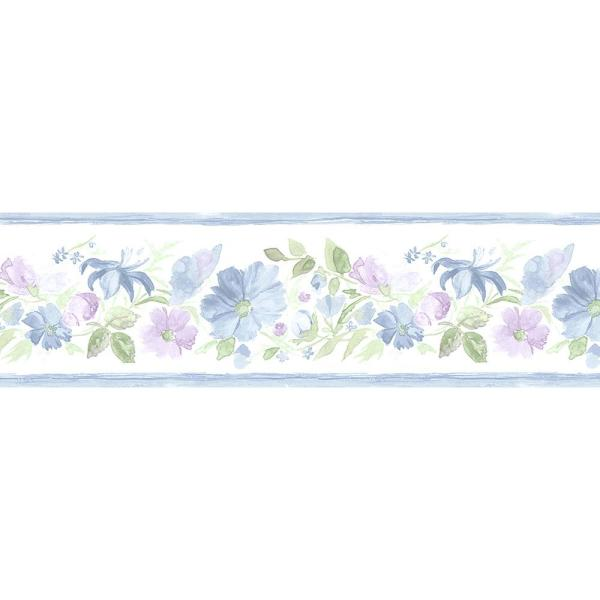 Fluted Floral Wallpaper Border Vinyl Peelable Roll (Covers 56 sq. ft.)