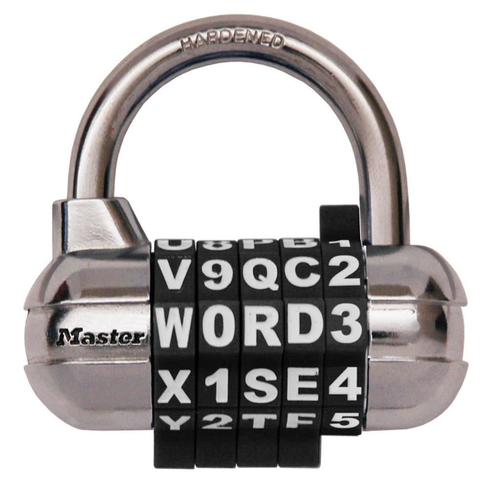 master lock set your own 5 dial word number combination padlock