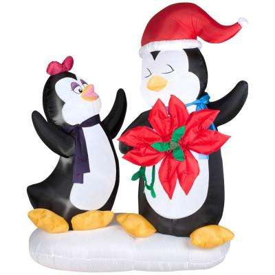 6 ft. H Animated Inflatable Penguin Couple with Poinsettia Flower