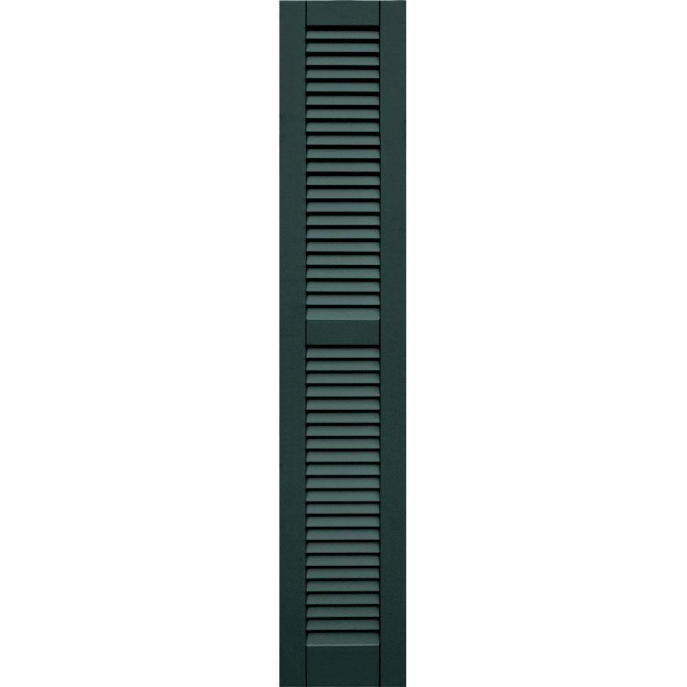 Winworks Wood Composite 12 in. x 65 in. Louvered Shutters Pair #638 Evergreen