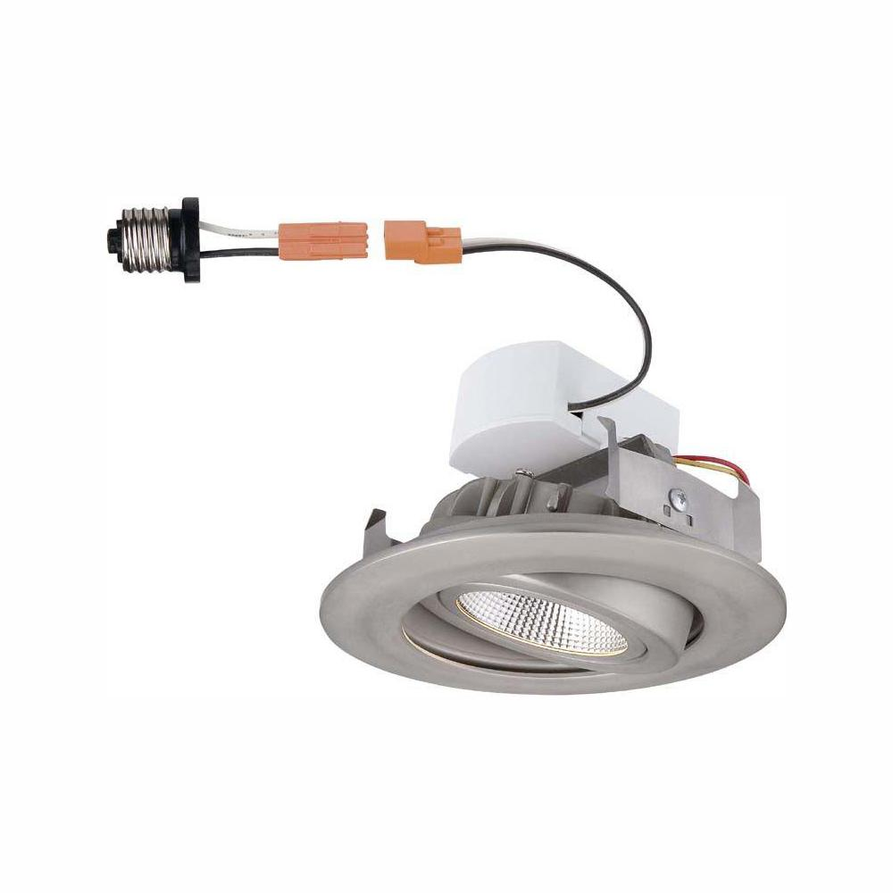 Commercial Electric 4 in. Brushed Nickel Recessed LED Gimbal Trim