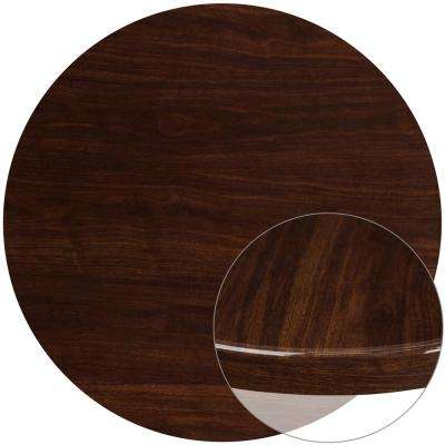 48 in. Round High-Gloss Walnut Resin Table Top with 2 in. Thick Drop-Lip