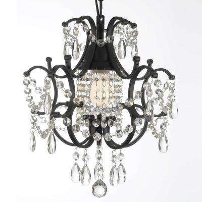 Black crystal chandeliers lighting the home depot versailles 1 light black mini chandelier with crystal mozeypictures Image collections