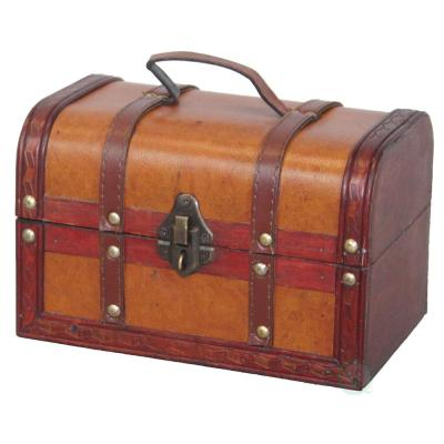 8.5 in. x 5.5 in.  x 5.5 in. Wood Faux Leather Decorative Faux Leather Treasure Box