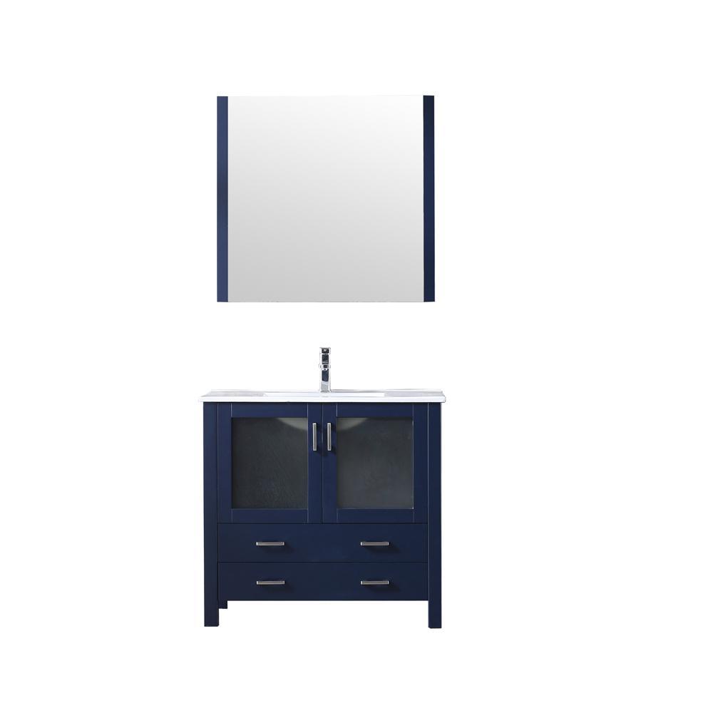 Lexora 36 in. Single Bath Vanity in Navy Blue w/ Integrated Ceramic Vanity Top w/ White Integrated Square Sink, 34 in. Mirror