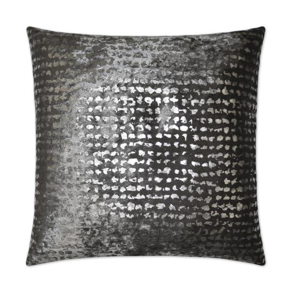 Stealth Pewter Floral Down 24 in. x 24 in. Throw Pillow