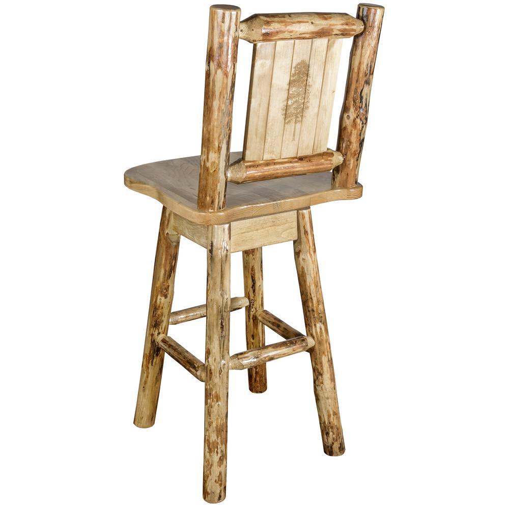 Laser engraved pine motif swivel bar stool