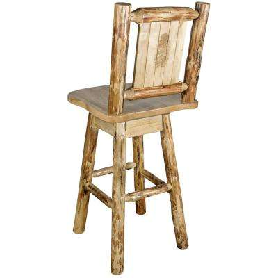 Glacier 30 in. Laser Engraved Pine Motif Swivel Bar Stool