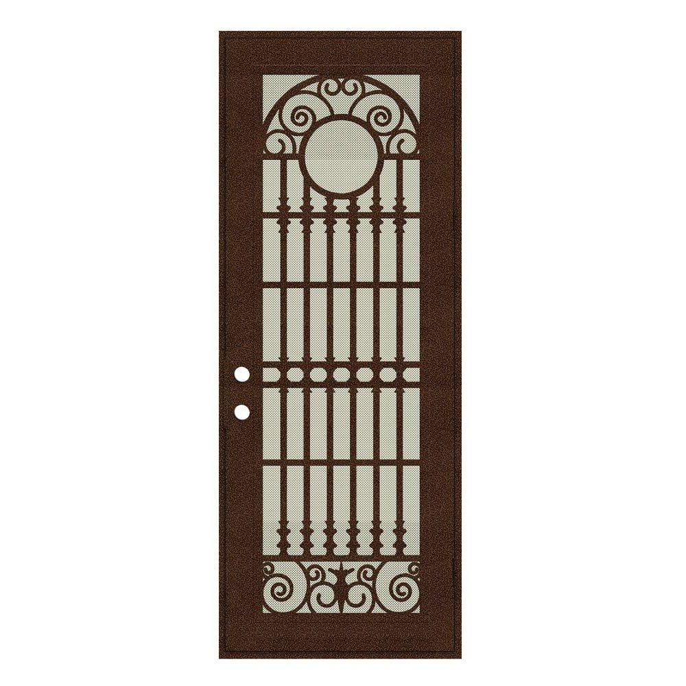 Unique Home Designs 36 in. x 96 in. Spaniard Copperclad Right-Hand Surface Mount Aluminum Security Door with Beige Perforated Screen