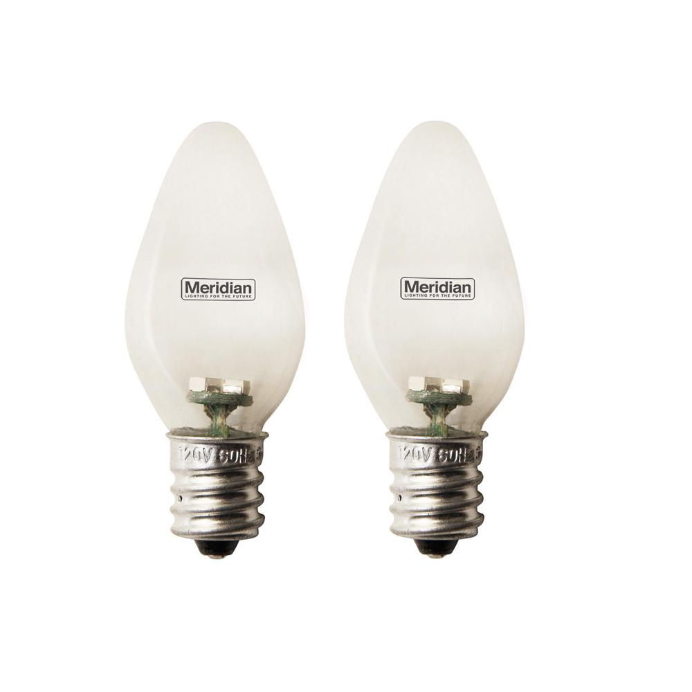 Meridian 4-Watt Equivalent Green C7 LED Light Bulb (2-Pack) Meridian 4-Watt Equivalent General Purpose Clear C7 LED Light Bulbs 2-Pack. Meridian C7 Light Bulbs are designed for nightlights, appliances, accent, task and general lighting. Using the latest energy saving technology, these bulbs are energy saving and cool to the touch.