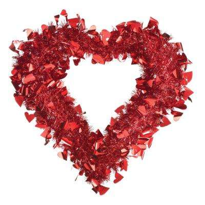 15 in. Valentine's Day Red Heart Tinsel Wreath (2-Pack)