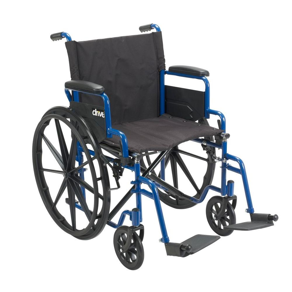 Drive Blue Streak Wheelchair with Flip Back Desk Arms, 20 in  Seat and  Swing-Away Footrests