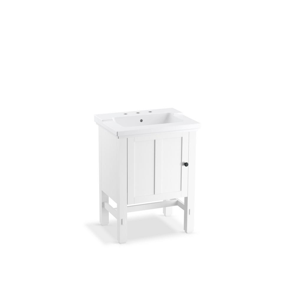 KOHLER Tresham 24 in. W x 18-1/4 in. D Vanity in Linen White with Vitreous China Vanity Top in White with White Basin