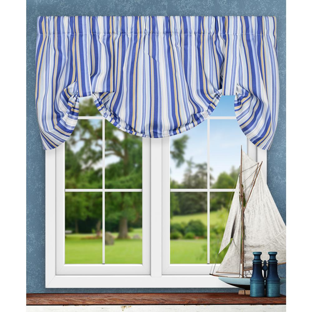 Ellis Curtain Mason Stripe 22 in. L Poly/Cotton Tie-Up Valance in Blue