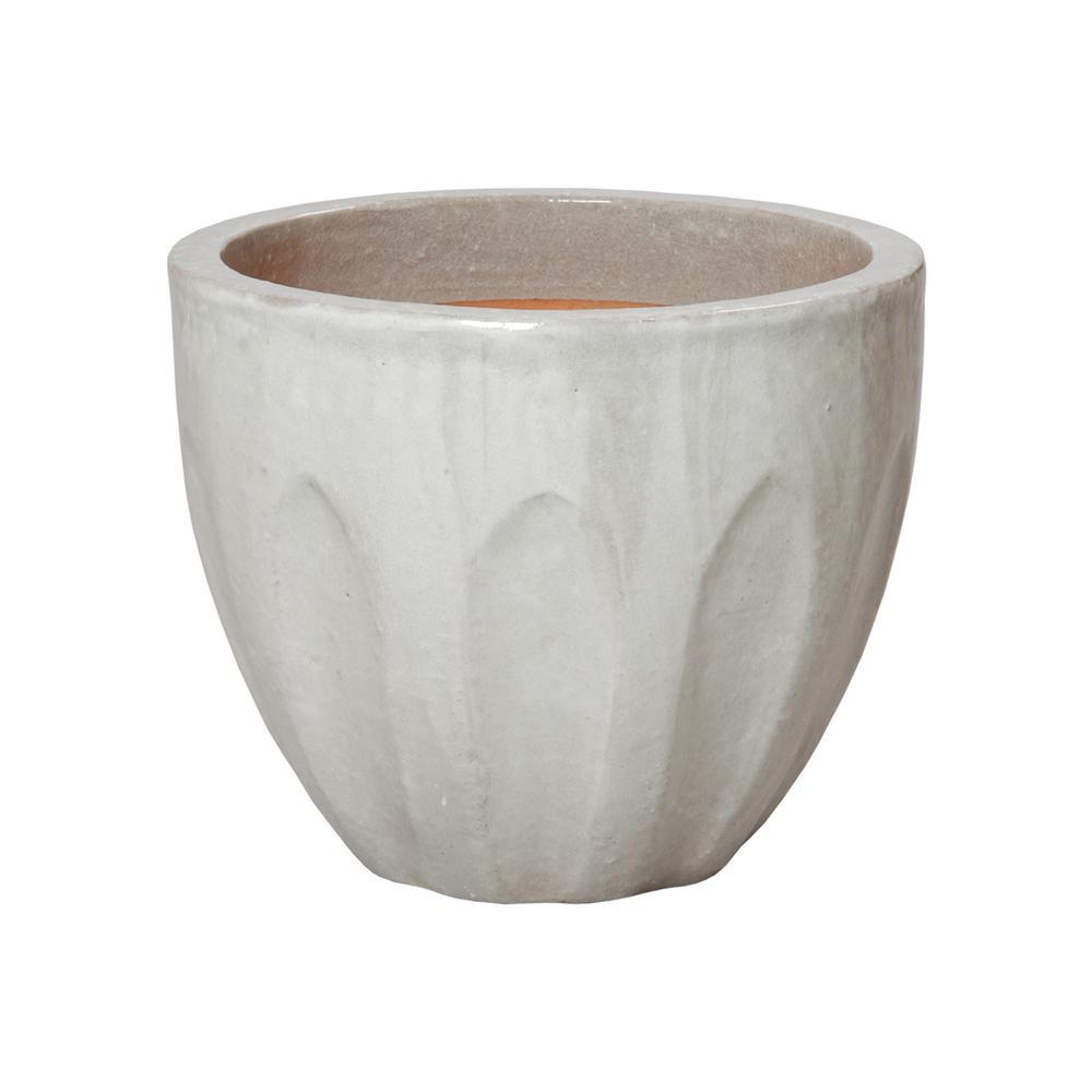 Emissary 16 in. Dia Round Stone Gray Ceramic Calyx Planter