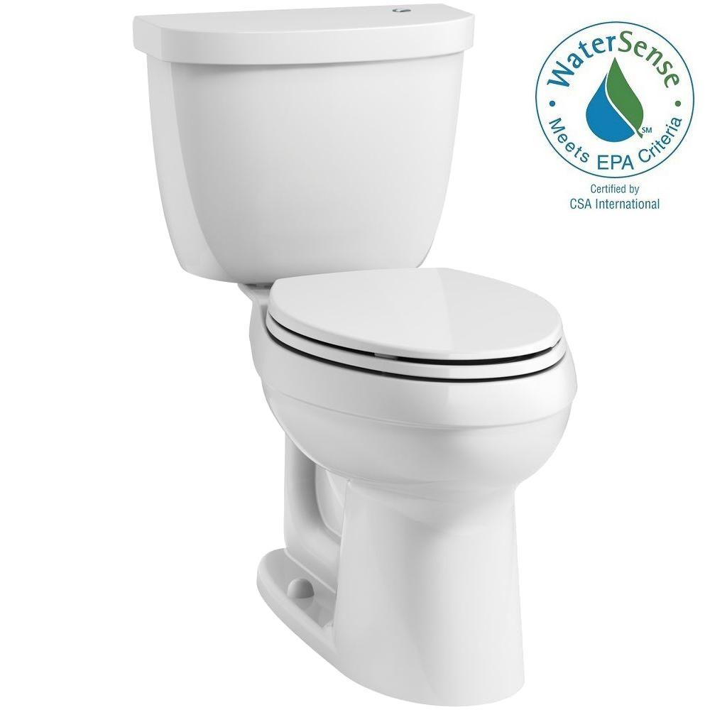 KOHLER Cimarron Touchless Comfort Height Complete Solution 2-Piece 1.28 GPF Elongated Toilet with AquaPiston in White
