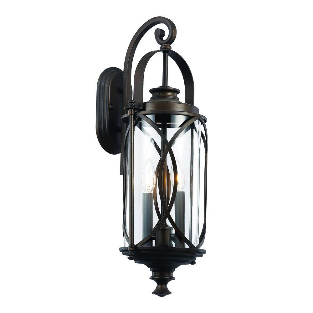 Bel Air Lighting 2 Light Rubbed Oil Bronze Outdoor Crossover Wall Lantern