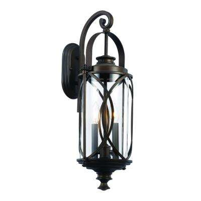 2 Light Rubbed Oil Bronze Outdoor Crossover Wall Lantern