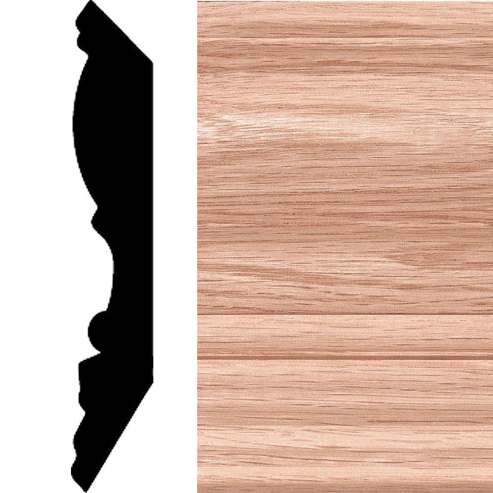 3/4 in. x 4 in. - 1/2 in. x 8 ft. Oak Crown Moulding