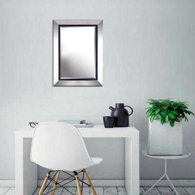 24.50 in. x 32.50 in. x 0.88 in. Silver with Inner Black Finish Beveled Wall Mirror