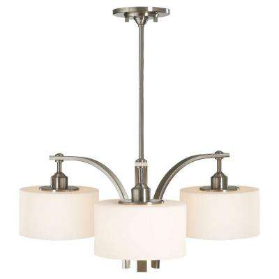 Sunset Drive 3-Light Brushed Steel Chandelier with White Opal Glass Shade