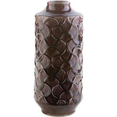 Ohati 14.6 in. Dark Brown Ceramic Decorative Vase