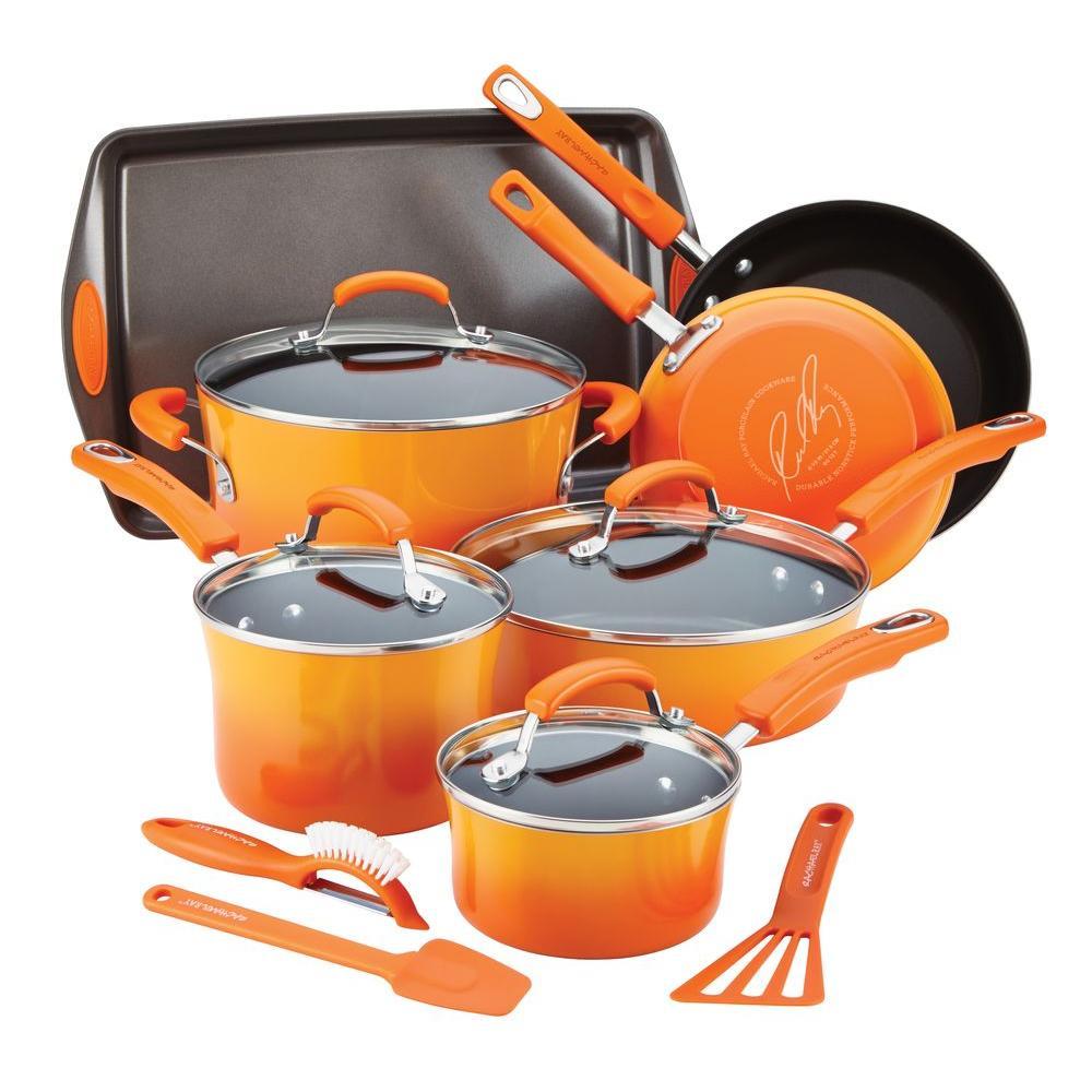 Rachael Ray 14 Piece Orange Cookware Set With Lids 14611