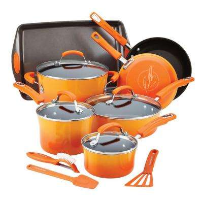 14-Piece Orange Cookware Set with Lids