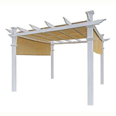 Malibu 10 ft. x 10 ft. White Vinyl Pergola with Canopy