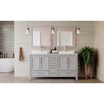 Bentworth 60 in. W x 22 in. D Double Vanity in Light Gray with Engineered Vanity Top in White with White Basins