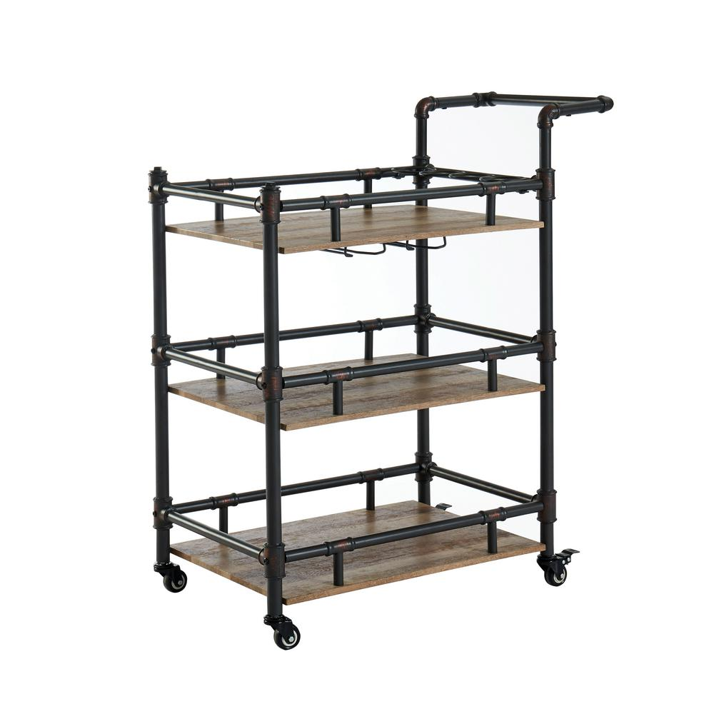 Furniture Of America Griffin Sand Black Serving Cart With A