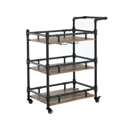 Griffin Sand Black Serving Cart With A Caster Wheels
