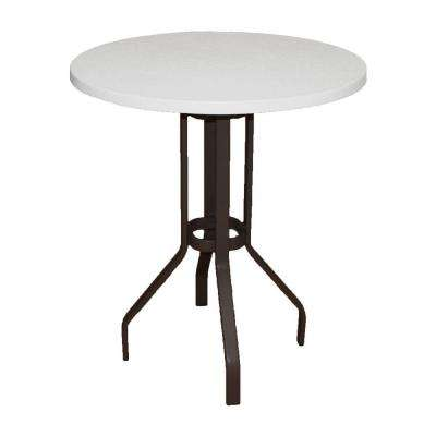 Marco Island 36 in. Dark Cafe Brown Round Commercial Fiberglass Top Bar Height Patio Dining Table