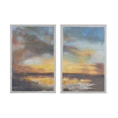 """36 in. x 24 in. """"Eventide"""" Hand Painted Framed Canvas Wall Art (Set of 2)"""