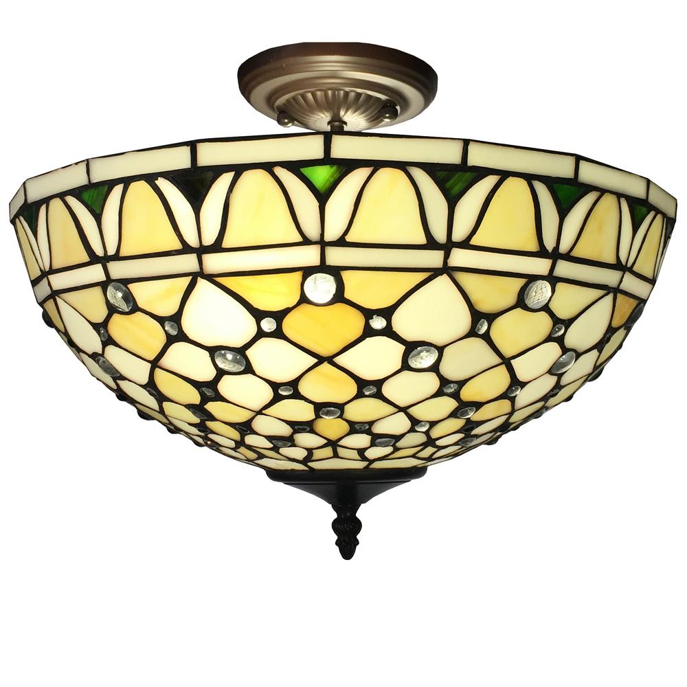Alvira 2 Light Bronze Indoor Off White Tiffany Style Ceiling Lamp T16043ul The Home Depot