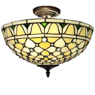 Alvira 2-Light Bronze Indoor Off White Tiffany Style Ceiling Lamp