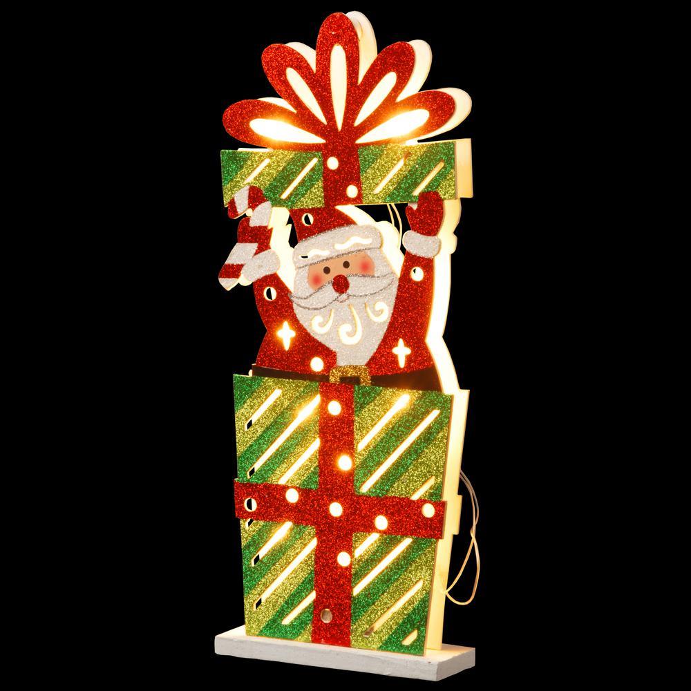 Pre-Lit 17 in. Wooden Gift Box Santa