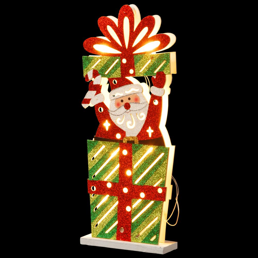 Pre-Lit 17 in. Wooden Gift Box Santa