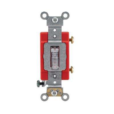 15/20 Amp Single-Pole Industrial Illuminated Toggle Switch, Clear