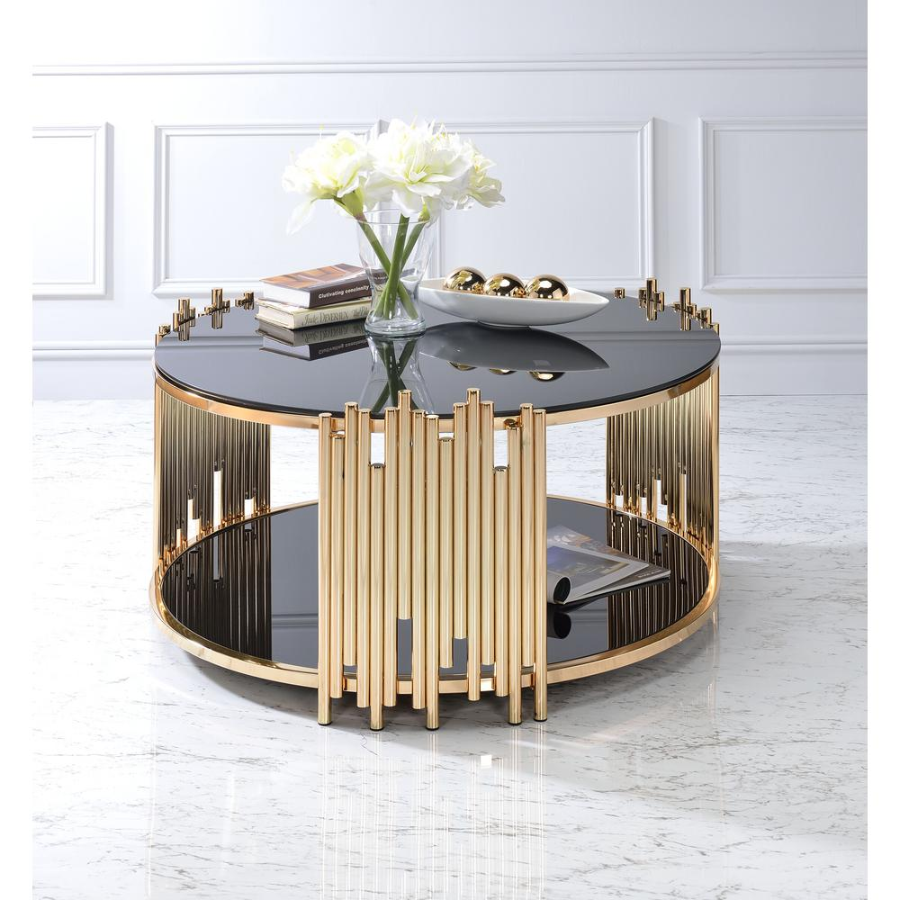 ACME Furniture Tanquin Black Glass And Gold Coffee Table