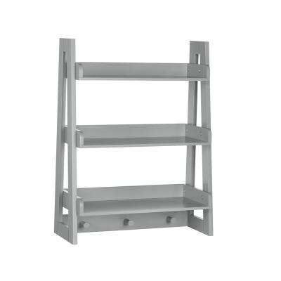 Kids 19.81 in. W x 26 in. H Gray Wall Ladder Shelf