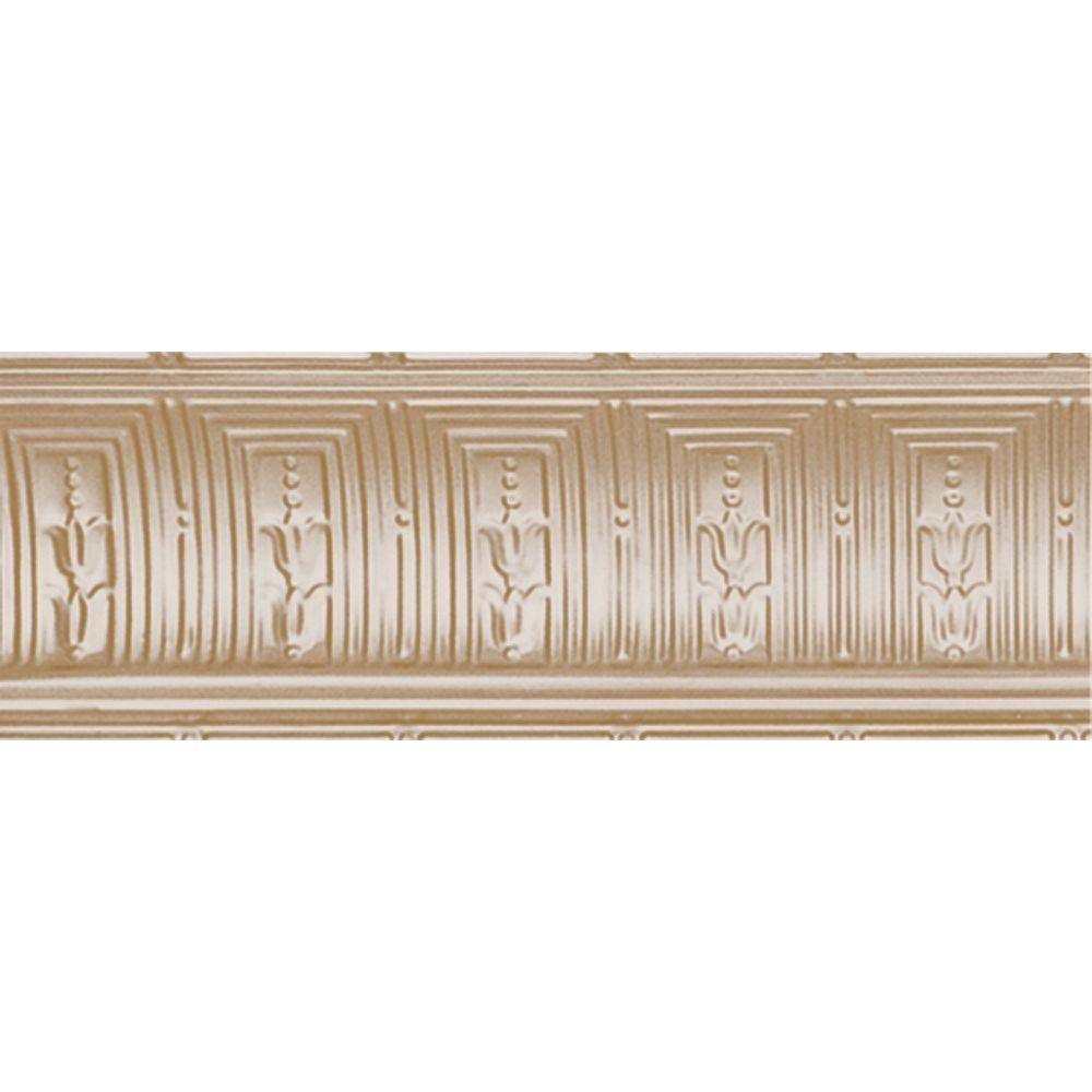 Shanko 8-3/4 in. x 4 ft. x 8-3/4 in. Satin Brass Nail-up/Direct Application Tin Ceiling Cornice (6-Pack)