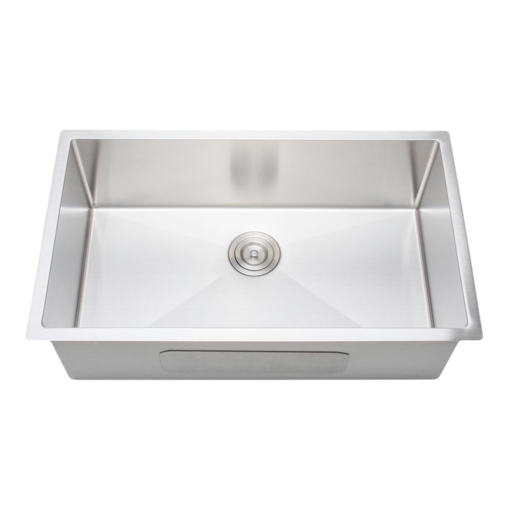 Wells The Chefs Series Undermount Stainless Steel 32 in. Handmade Single  Bowl Kitchen Sink