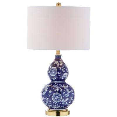 Lee 27 in. H Blue/White Ceramic Chinoiserie Table Lamp