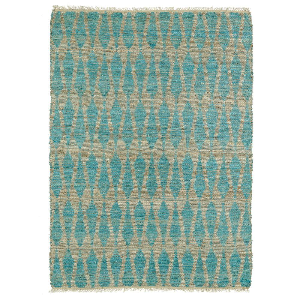 Kaleen Kenwood Teal 3 ft. 6 in. x 5 ft. 6 in. Double Sided Area Rug