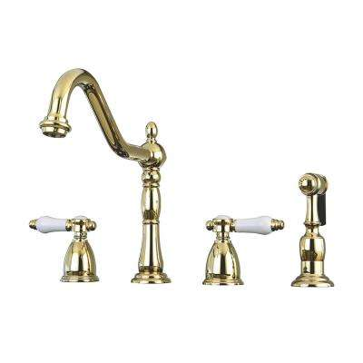 Victorian Porcelain 2-Handle Standard Kitchen Faucet with Side Sprayer in Polished Brass