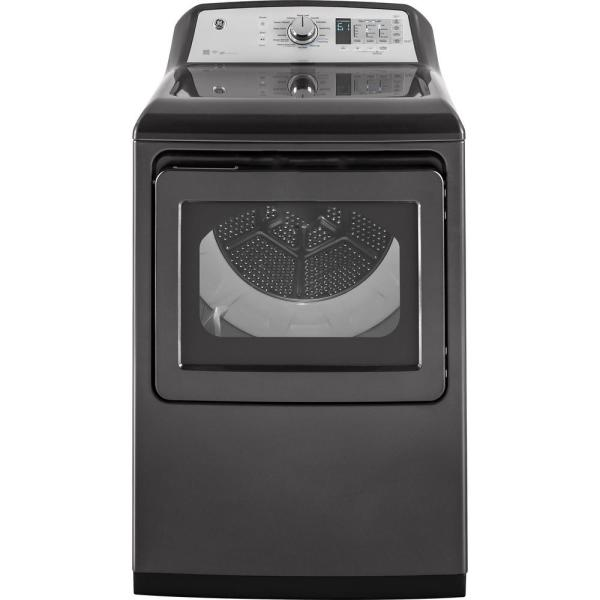 GE 7.4 cu. ft. 120 Volt Diamond Gray Gas Vented Dryer with Steam and Wi-Fi Connected, ENERGY STAR