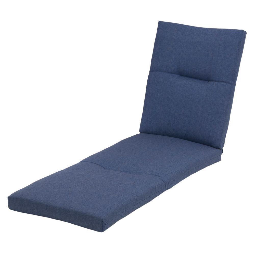 Hampton bay sky blue rapid dry deluxe outdoor chaise for Blue chaise lounge cushions